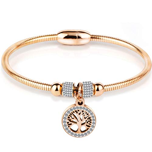 (Jude Jewelers Stainless Steel Magnetic Tree of Life Charm Bangle Bracelet Cocktail Party (Rose Gold))