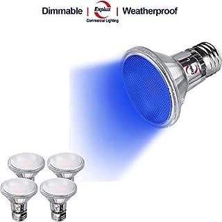 Explux PAR20 Blue LED Flood Light Bulbs, Dimmable, 50W Equivalent, Indoor/Outdoor, 4-Pack