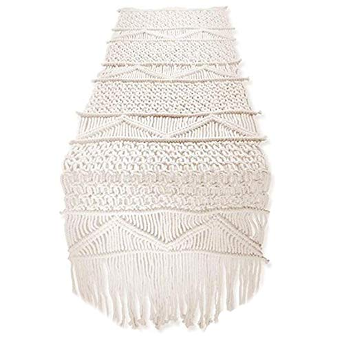 Camino de mesa de macrame hecho a mano con borlas largas, ideal para decoracion de mesa de boda o dormitorio