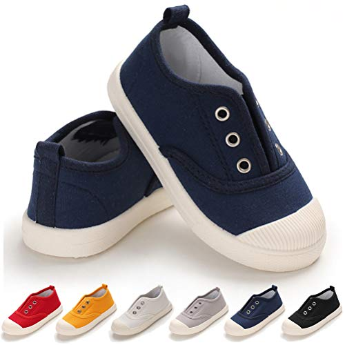 Toddler Kids Canvas Sneaker Slip-On Lightweight Running Tennis Shoes for Baby Boys Girls (8.5 Toddler, B-Navy Toddler Shoes