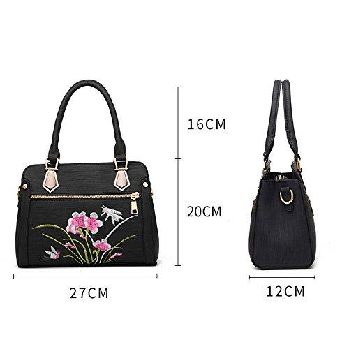 Brodéà Femme Sac ZLL à Mode Diagonal Sac Main Women's Pour bag Bandoulière à Sac Black La YOTwvpY