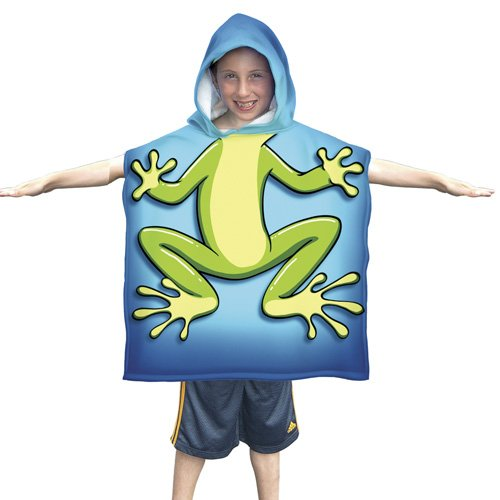 Frog Beach Towel - Kids Frog Cotton Hooded Poncho Bath/Beach Towel