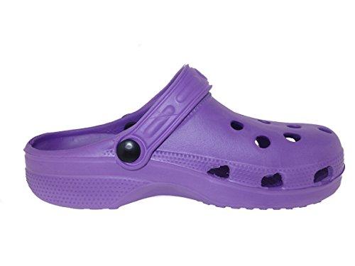 Zallies Ladies Waterproof Clog Garden Shoes - Assorted Colors Purple L53EY4