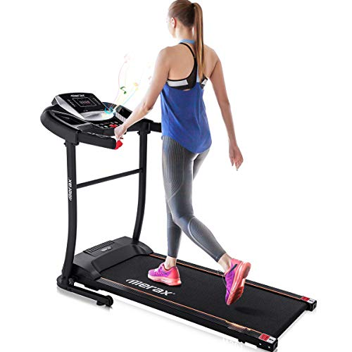 Merax Folding Treadmill Motorized Fitness Running Jogging Machine with Pad Holder and Speaker