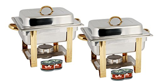 alf Size Chafing Dish Buffet Warmer Set, Gold Accented, Includes 4 Free Chafing Fuel Gels, Stainless Steel, 4 Quart (Gold Accented Chafer)