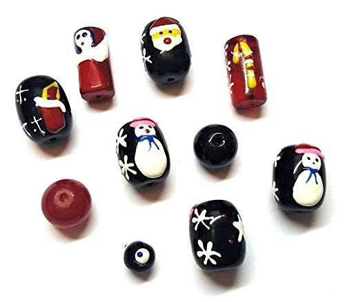 Christmas Glass Beads - Set of 10 - Santa, Angel, Candy Cane, Snowman, Candle