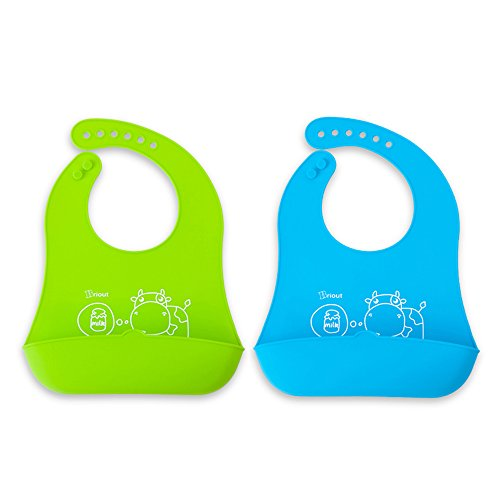 Baby Bibs 4 Pack, 2 Silicone Bibs With Pocket & 2 Organic Cotton Soft Drool Bibs