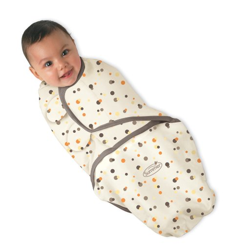 Summer Infant 73634 SwaddleMe Cotton Knit Mocha Dot, Small/Medium