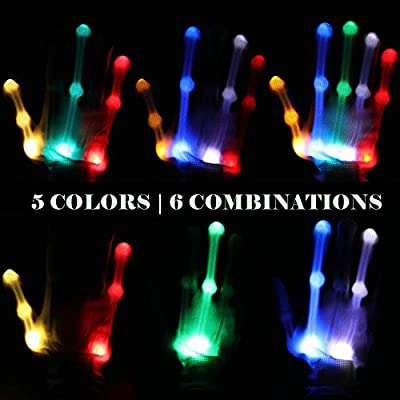 Light Up Gloves, LED gloves with 5 Colors 6 Modes for Dance,Kids Games,Light-up Party(Kid): Toys & Games