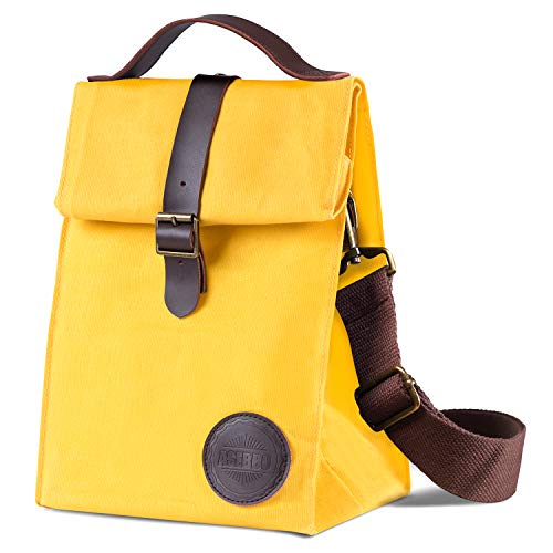Insulated Waxed Canvas Lunch Bag by Asebbo | Lunch box for women,men with Genuine Leather Handle & STRONG Buckle-Closure to keep your food cool | Lunch tote w/Adjustable Strap (Yellow)