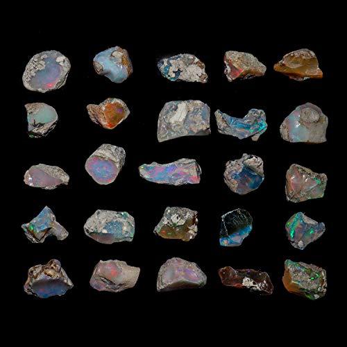 InfinityGemsArt 30 Quilates Cristales primas Naturales de etiopía ópalo de Fuego de Las Piedras Preciosas primas para la…
