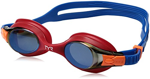 TYR  Kids Swimple Mirrored Goggles, Blue/Red, One Size