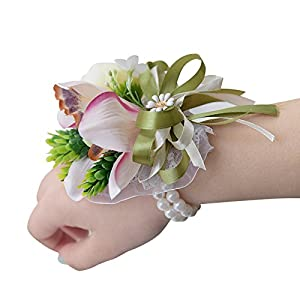 Abbie Home Pink Lily White Rose Buds Wrist Corsage for Prom Wedding Party Hand Flower Wristbands 76