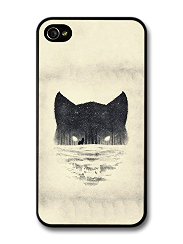 Wolf Face Snow Forest Black and White Print Wild Animal Design case for iPhone 4 4S