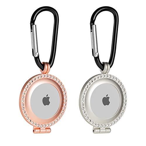 2 fundas de metal resistente apple airtag plateado-rosa