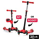 Lascoota 2-in-1 Kick Scooter for Kids with Removable Seat Great for Kids & Toddlers Girls or Boys - Adjustable Height w/Extra-Wide Deck PU Flashing Wheels for Children from 2 to 14 Year-Old (Red)