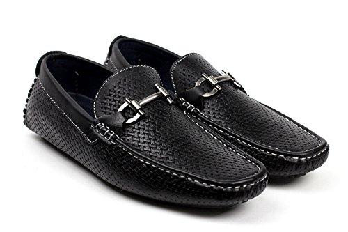 HOMBRE SIN CIERRES Diseño Italiano Mocasines Conducción Zapatos Casual Náuticos Elegante Mocasin Negro