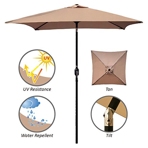 ABBLE Outdoor Patio Umbrella 6.5 Ft Square with Tilt and Crank, Weather Resistant, UV Protective Umbrella, Durable, 6 Sturdy Steel Ribs, Market Outdoor Table Umbrella, Tan