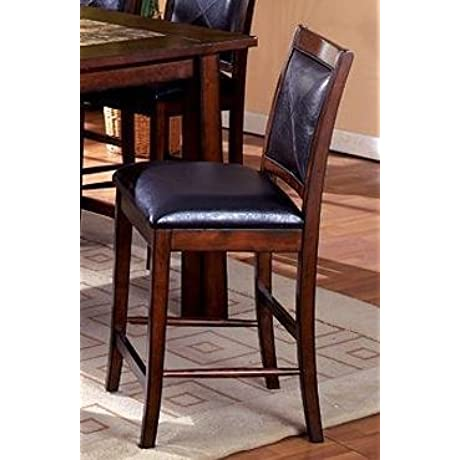 Berna Tobacco Oak Finish Counter Height Dining Chairs Set Of 2
