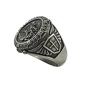 Saint St Michael the Archangel Sterling Silver 925 Mens Biker Ring