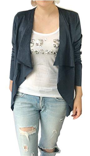 Women's Long Sleeve Cardigan, Faux Suede, Chic Look, Drape Front (L, ()