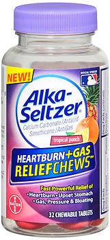 Alka-Seltzer Heartburn + Gas ReliefChews Chewable Tablets, Tropical Punch 32 ea (Pack of ()