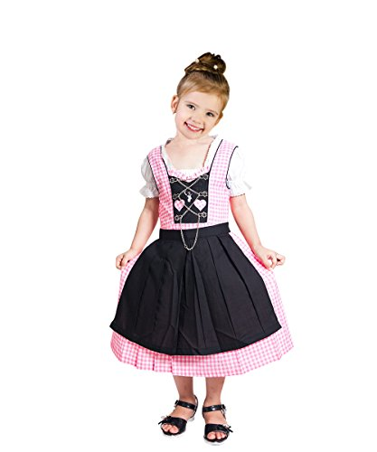 Dirndl World Childrens Dik09, German Bavarian 3 Piece Children Dirndl Dress for Oktoberfest, Blouse, Apron, Size 13