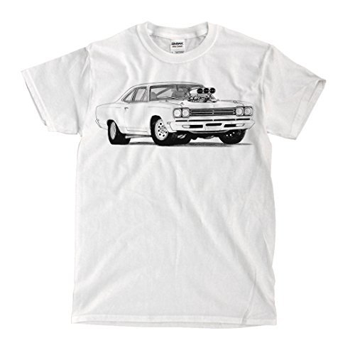 Plymouth Roadrunner 1969 Drawing White T-shirt - Ready to Ship! - High-Quality! (3XL)