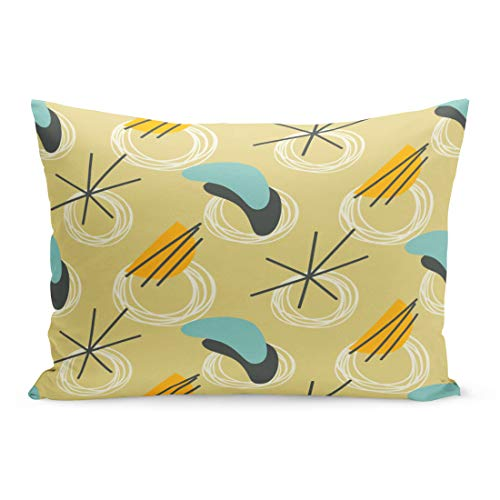 Emvency Throw Pillow Covers 50S 1960S Mid Century Modern 1950S Vintage Atomic Retro Pillow Case Cushion Cover Lumbar Pillowcase Decoration for Couch Sofa Bedding Car Home Decor 20 x 36 inchs