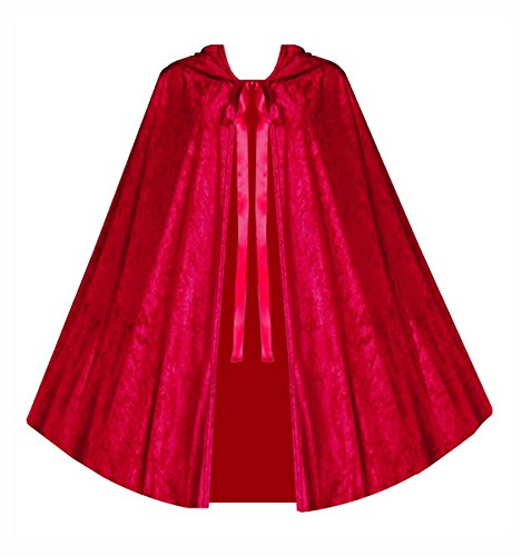 Victorian Vagabond Gothic Medieval Renaissance Steampunk Velvet Capelet Red (56 Inch Velvet Red)