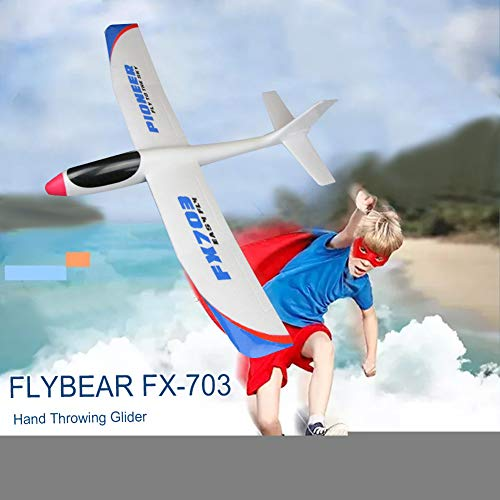(WskLinft FX-703 690mm Wingspan Hand Throwing DIY RC Glider Kids Airplane Aircraft Toy)
