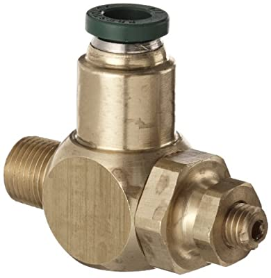 """Parker 032511225 3251 Series Brass Right Angle Flow Control Valve with Prestolok Fitting, 1/8"""" NPT Male x 1/4"""" NPT Female, 125 psi from Parker"""