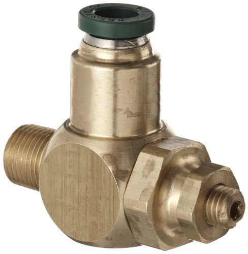 Parker 032511225 3251 Series Brass Right Angle Flow Control Valve with Prestolok Fitting, 1/8