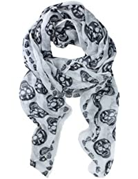 Punk Pirate Skull Chiffon Scarf (White)