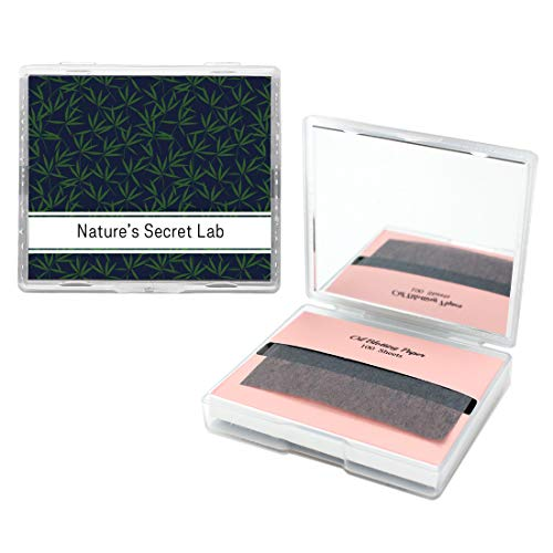 [200 Counts + Mirror Case] Bamboo Charcoal Face Oil Blotting Paper Sheets with Makeup Mirror - Oil Absorbing Sheets made in Japan