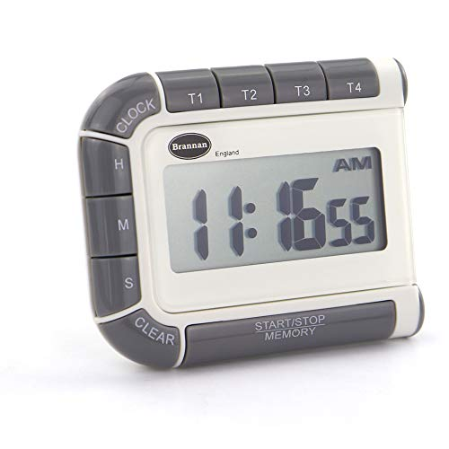 (Four Way Countdown Timer & Clock - 24 Hour Count Down & Count Up Kitchen Timer - Large Easy To Read Display)