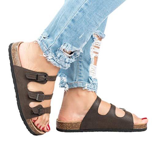 Triple Buckle - Womens Flat Sandals Cork Sole Buckle Slip On Slides Flip Flops D - Brown