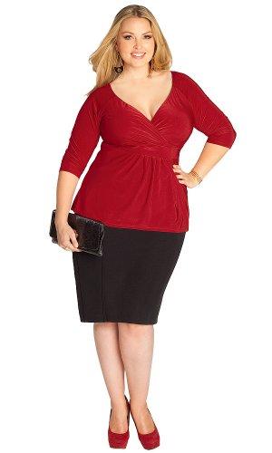 IGIGI Women's Plus Size Arabelle Top in Crimson 14/16