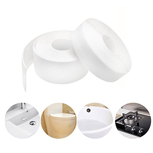 Caulk Strip PE Self Adhesive Tape for Bathtub Bathroom Shower Toilet Kitchen and Wall Sealing 11 Ft Length (38 mm 1 Pack, White)