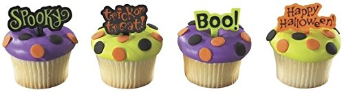 Halloween Greeting Cupcake Picks - 24 (Happy Halloween Witch Pics)