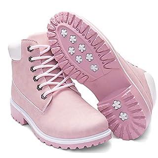 DADAWEN Women's Lace Up Low Heel Work Combat Boots Waterproof Ankle Bootie Pink US Size 9