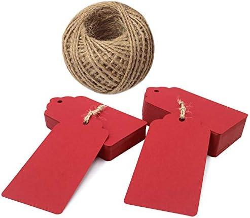 [Gesponsert]Rote Anhänger, 100 STÜCKE Rote Geschenkanhänger für Weihnachten, 10 * 5 cm Hochzeitsbevorzugung Hängeetiketten mit Juteschnur 30 Meter lang für Bastel- und Preisetiketten