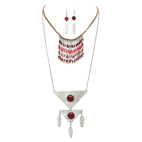 Rosemarie Collections Women's Western Tribal Multi Strand Feather and Bead Necklace Jewelry Set (Jasper Red)