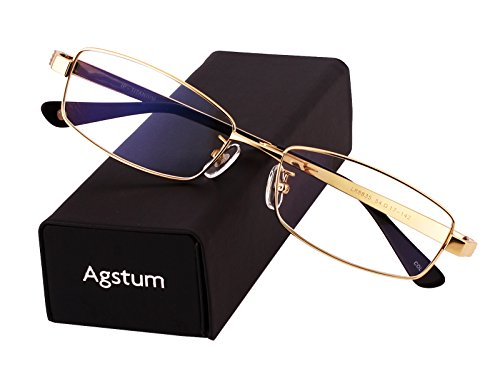 - Agstum Pure Titanium Full Rim Glasses Frame Optical Eyeglasses Rxable 54mm (Gold, 54)