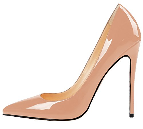 MONICOCO Women's Stiletto Heel Plus Size Pumps Shoes Pointed Toe Pump For Wedding Party Dress Patent Nude 10 US