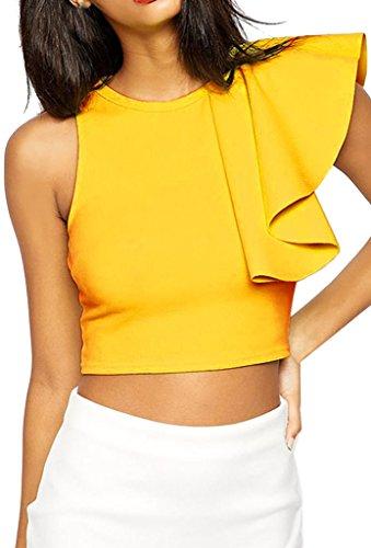 Yellow Ruffle Shirt Top (ZKESS Women's Cocktail Club One-shoulder Ruffle Crop Top Large Size)