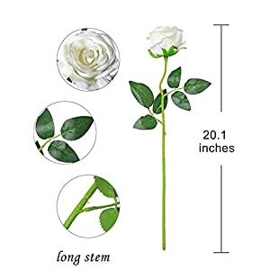 Veryhome Artificial Flowers Silk Roses Fake Bridal Wedding Bouquet for Home Garden Party Floral Decor 10 Pcs (White Curved stem) 3