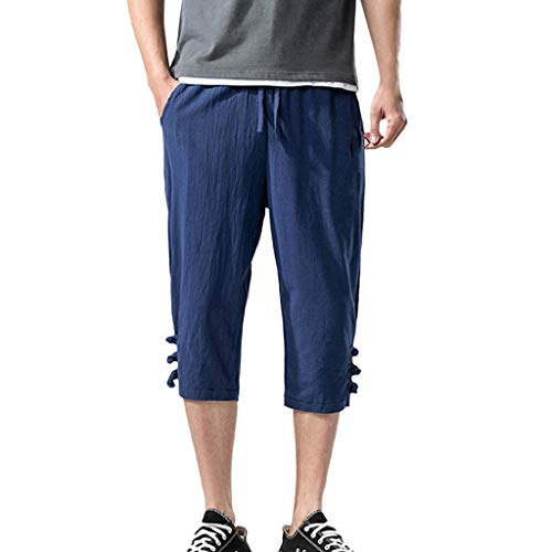 BingYELH Men's Casual Drawstring Linen Short Summer Loose Harem Capri Yoga Pants Beach Trousers Jacket Pants Pajama Navy - Navy Unprecedented Jacket