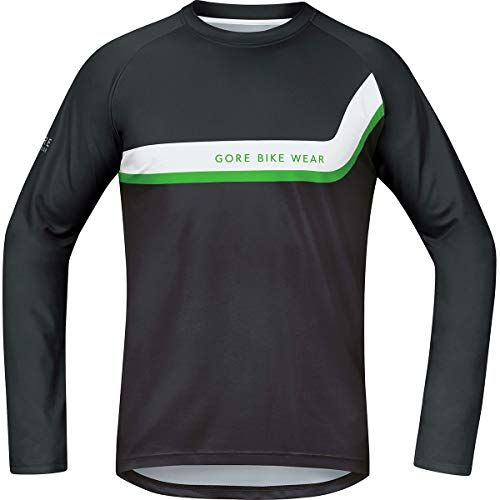 (Gore Bike WEAR Men's Long Sleeve Shirt, Jersey, Super Lightweight, Stretch, Gore Selected Fabrics, POWERTRAIL Jersey Long, Size: M, Black/Brown, SPOWLE)