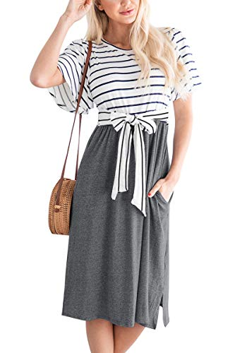 Women's Tie Waist Striped Summer Casual Short Sleeve Swing Midi Dress Dark Grey XXL (Xxl Midi Dress)